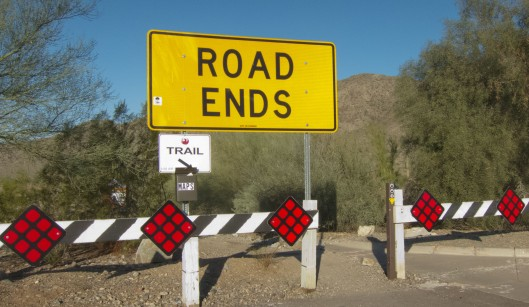 The road ends where the trail head begins!