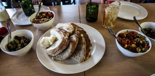 olives fava beans fresh baked bread