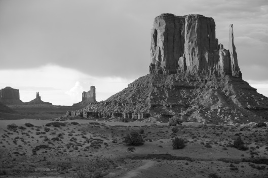 black white monument valley