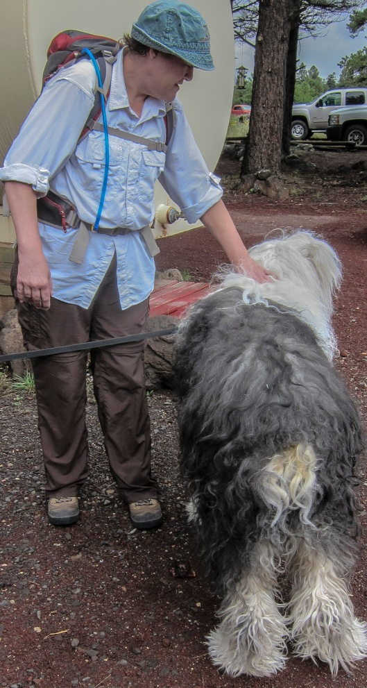 hike leader with sheep dog