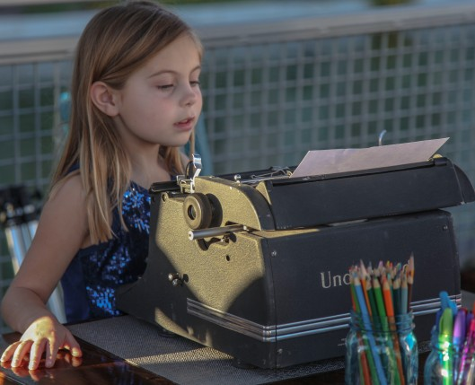 girl typewriter